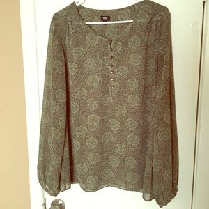 Mossimo Green Pattern Blouse